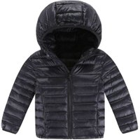 Basic Winter Hooded Jacket Kids Long Sleeve Down Coat Outerwear(Black 7-8Y)