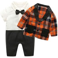 Fashion Baby Toddler Boys Clothes Sets Long Sleeve Gentlemen Bowknot Plaid Coat Rompers Kids Boy Clothing Set kids clothes