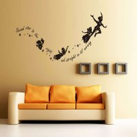 Happy Girl Dancing Second Star to the Right Quote Wall Sticker Nursery Kid Bedroom Vinyl Decal 100 X 55cm