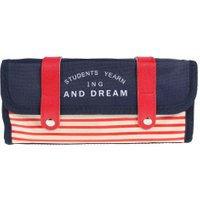 Multi Layer Stationery Students Canvas Navy Kids Pencil Bag