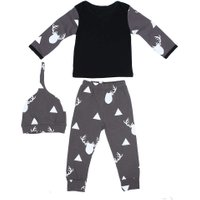 New Design Full Sleeve O-Neck Printed Clothes Set for Newborn Baby Boy Girl 2PCS Outfit Toddler Kids Clothing Set