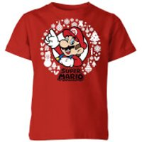 Nintendo Super Mario White Wreath Kid's Christmas T-Shirt - Red - 7-8 Years - Red