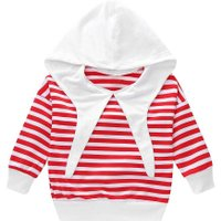 Spring Kids Stripe Cotton Long Sleeve Soft Pullover Hoodies Clothing Tops