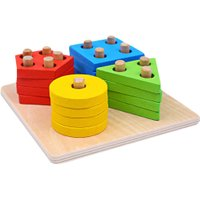 Wooden Geometric Stacker Column Shape Building Block Set Multicolor Kids Early Educational Toy Baby Assemblage Wooden Toys